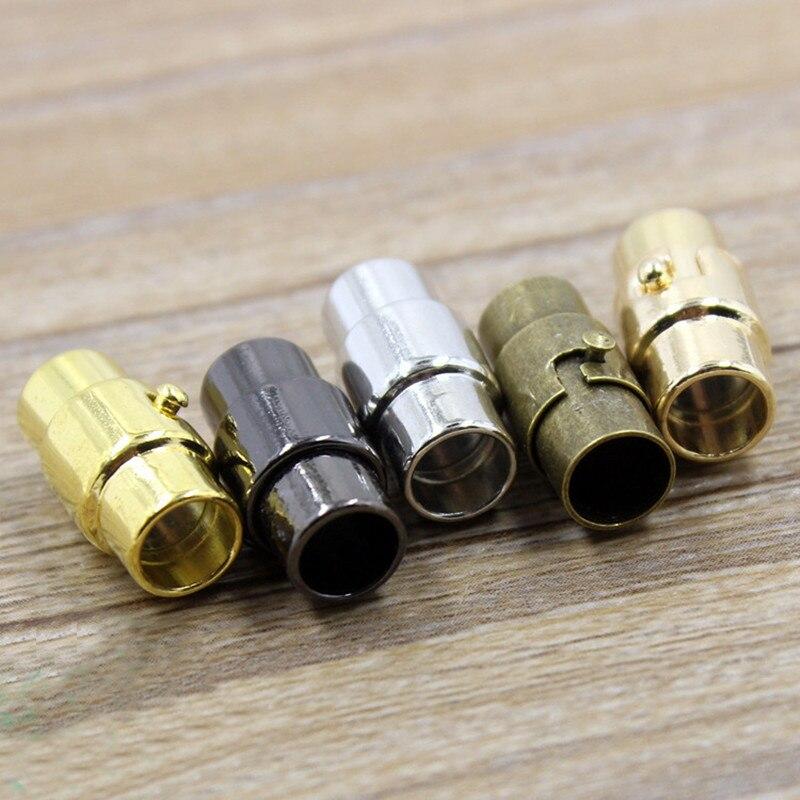 5 takım 3/4/5/6/7/8/9/10MM deri kordon uç kapağı/manyetik toka kilitleme mekanizması ile, konnektör bilezik kolye yapımı için K139