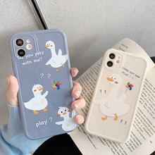 Cartoon Duck Phone Case For iPhone 12 11 Pro Max X XR XS 7 8 Plus Camera Protection SE 2020 Pet Cat Shockproof Soft TPU Cover