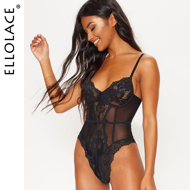 Ellolace Lace Bodysuit Women Fitness Elegant Sleeveless Rompers Sexy Bodycon Overalls 2019 New Female Body Solid Mesh Bodysuits