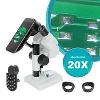 20x microscópio estéreo binocular com suporte do telefone iluminação led para pcb solda reparação móvel ferramenta de observação