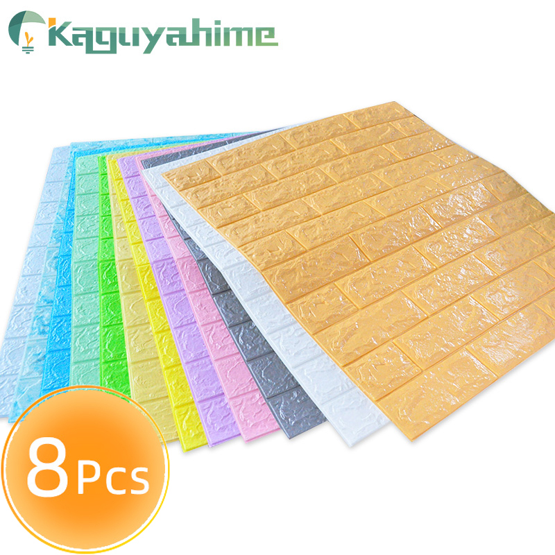 Kaguyahime 8Pcs 3D Wall Stickers Waterproof Self-adhesive Wallpaper Decor Home Sticker Imitation Brick Wallpaper For Living Room