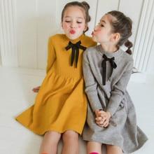 جديد 2020 الخريف والشتاء الفتيات فساتين سترة نمط طويل طفل الفتيات قاع فساتين القوس عادية الاطفال فستان الأميرة ، #8109