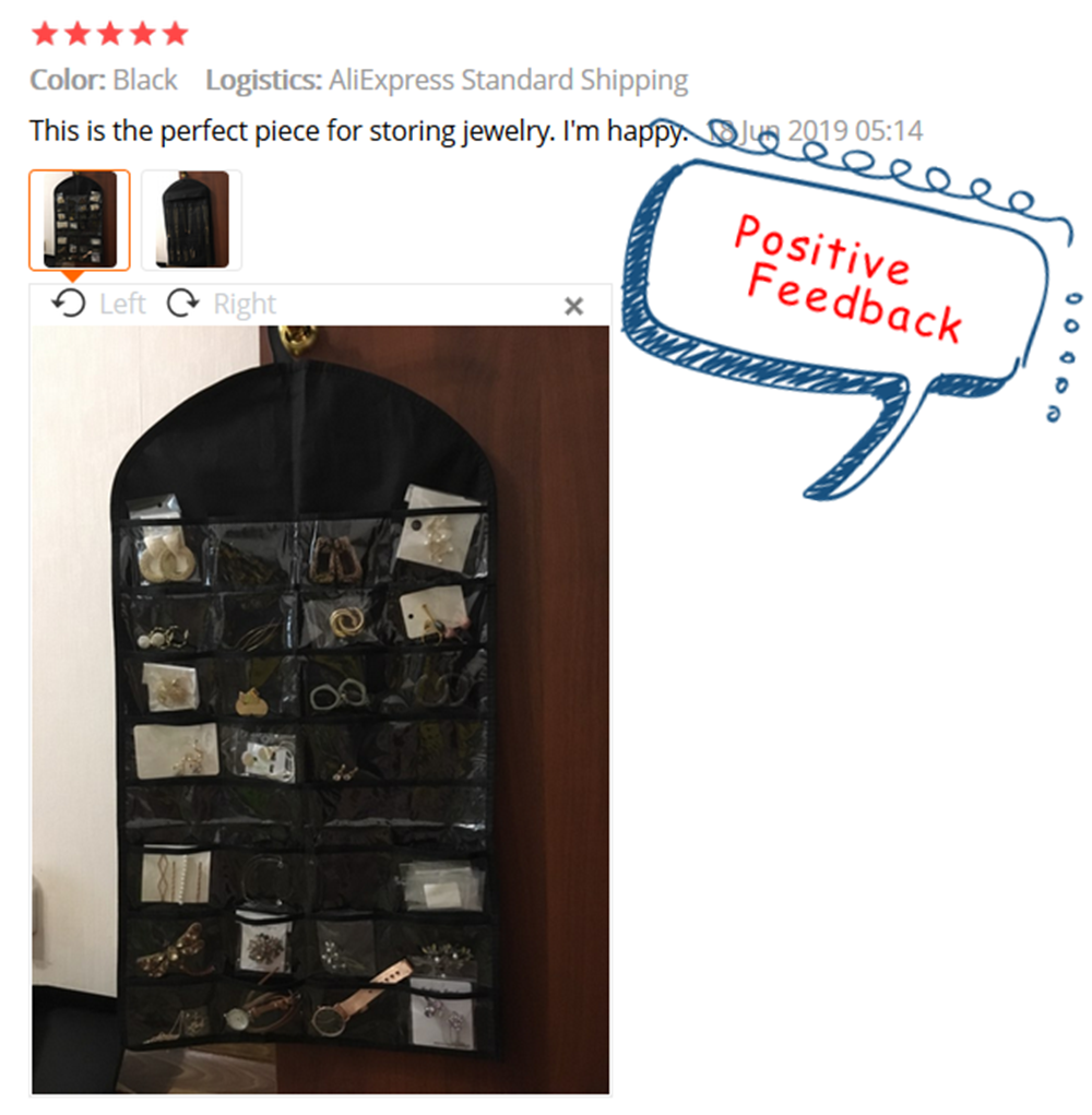 Hot Sale Fashion Jewelry Hanging Bag Necklace Bracelet Earring Display Bags 32 Pockets 18 Hook Jewelry Pouch Wardrobe Organizer
