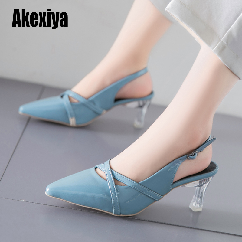 HOT Autumn High Heels Pointed Sandals Sexy Female Summer Shoes Mujer Zapatos Mujer Pumps 2020 Beige Blue S035
