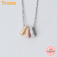 Trusta 925 Sterling Silver Necklace CZ Stone Pendant Girls Birthday Gift Women Necklaces Silver 925 Jewelry DS2360