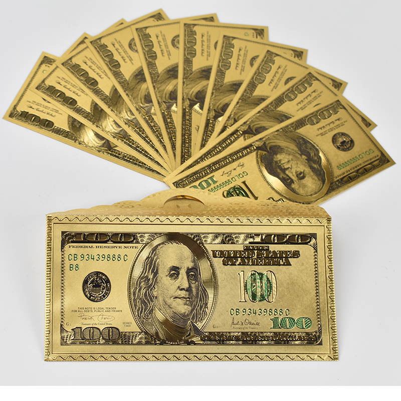 10 pcs Goldplated 100 Dollar Banknote Cash Dollar Bill Gold Foil Souvenir Money