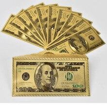 10pcs 100 Dollar Bills Fake Money 24K Gold Plated Dollars Decoration Gifts America  gift banknotes