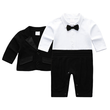 AmzBarley Newborn Baby Boys formal suit for Christmas Wedding Birthday party infant Onesies+ Jacket Winter Gentleman clothes set