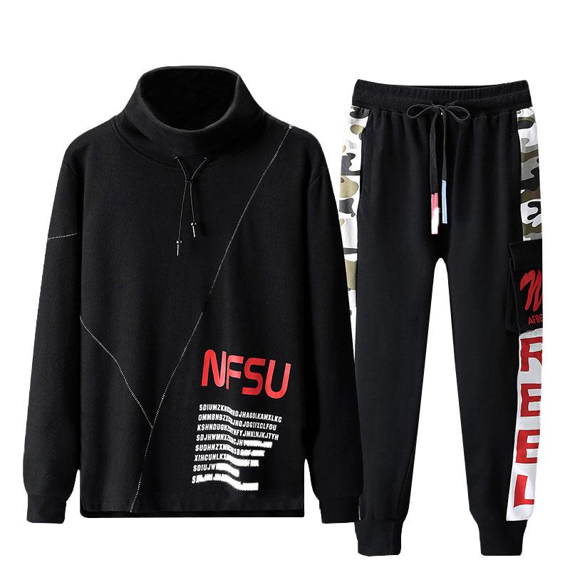 Paragraph Lang Legendary Men Sets Fashion Sweatshirt +Sweatpants 2 Pieces Sets Slim Tracksuit Printed Soft High Round Collar