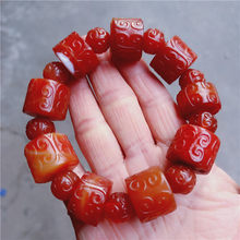 Natural red agate bracelet handcarved flower jade bracelets bangles genuine hand-carved round beads jade jewelry certificate(China)
