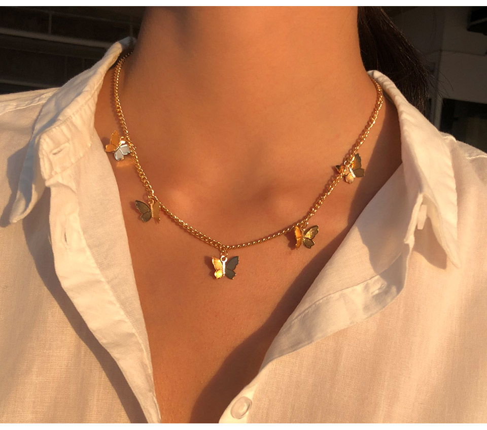 Cute Star Butterfly Choker Necklace For Women Gold Chain Neck Statement Collar Chains Chocker Shining Female Choker Jewelry