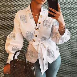 Frauen Casual Briefe Drucken Hemd Gürtel Laterne Hülse Spitze Up Party Blusen Streetwear Herbst V Neck Taste Sexy Shirts