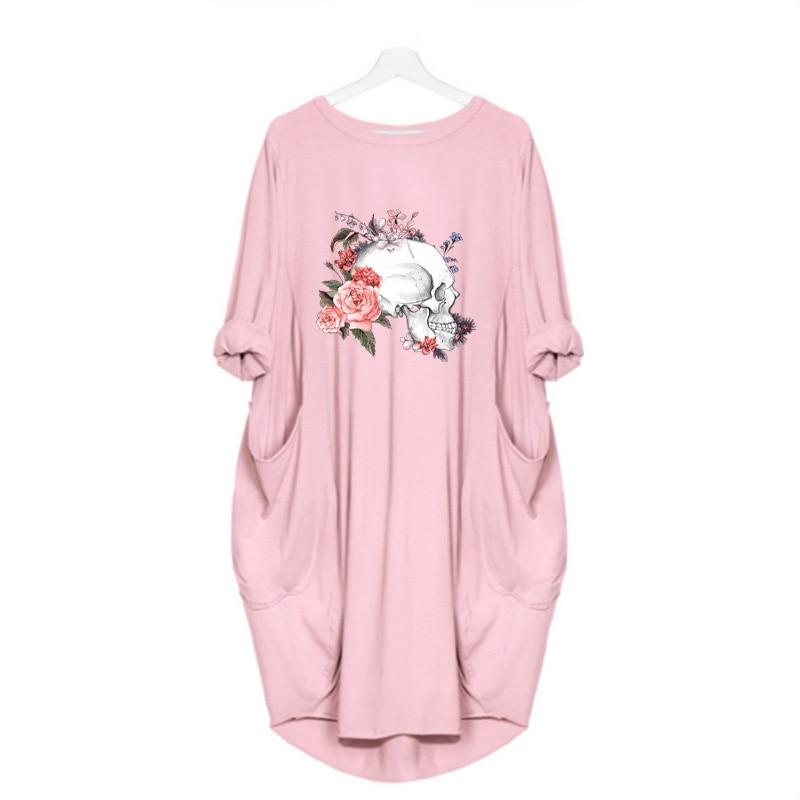 Women Loose Dresses Long Sleeve Dress Plus Size Harajuku Skull Print Casual Robes Femme Vintage o Neck Pocket Party Vestidos 186
