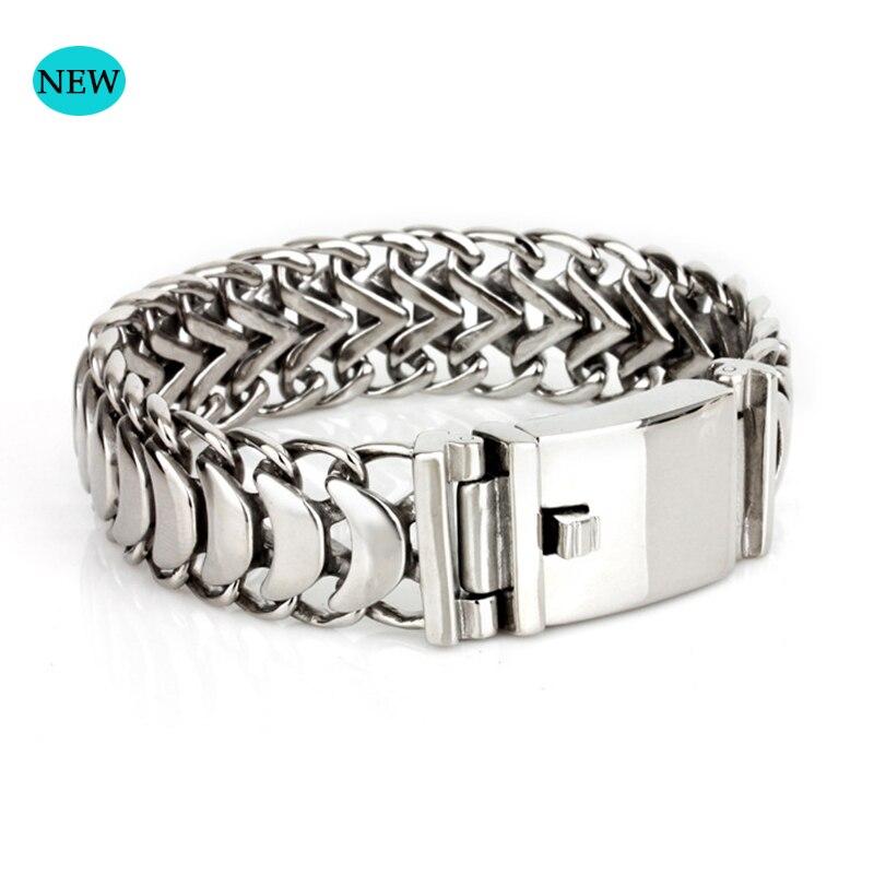 Chaîne cubaine bouddha bracelet 22 cm bijoux pour hommes en acier mâle chaîne 19mm de large bracelet en acier inoxydable chaîne bracelet cadeau BB007