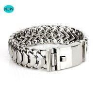 Cuban chain Buddha bracelet 22 cm men's jewelry steel male chain 19mm wide bracelet stainless steel chain wristband gift BB007