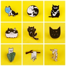 Cartoon Cats Badges for Clothes Funny Animal Enamel Pins for Backpacks Clothes Lapel Pin Badges Brooch on T-Shirt Set Badge Gift leisurely cute cats badges for clothes animal enamel pins for backpacks clothes lapel pin badges for backpack badge jewelry gift