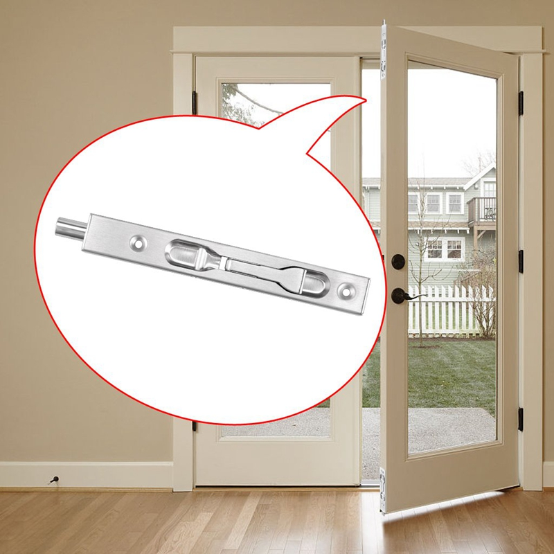 2 Pcs Door Flush Bolt - 6 Inch Concealed Security Door Lock For French Doors