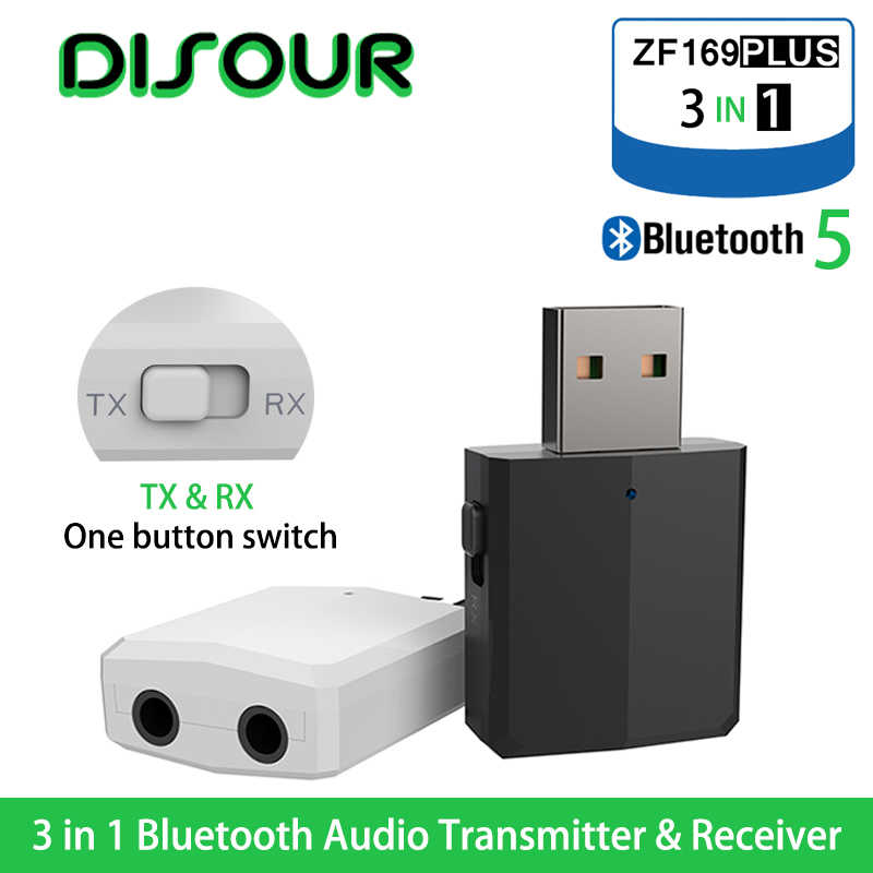DISOUR 5.0 USB nadajnik bluetooth odbiornik TV Mini 3 w 1 3.5MM AUX Stereo HIFI Audio Adapter bezprzewodowy klucz do zestaw samochodowy PC