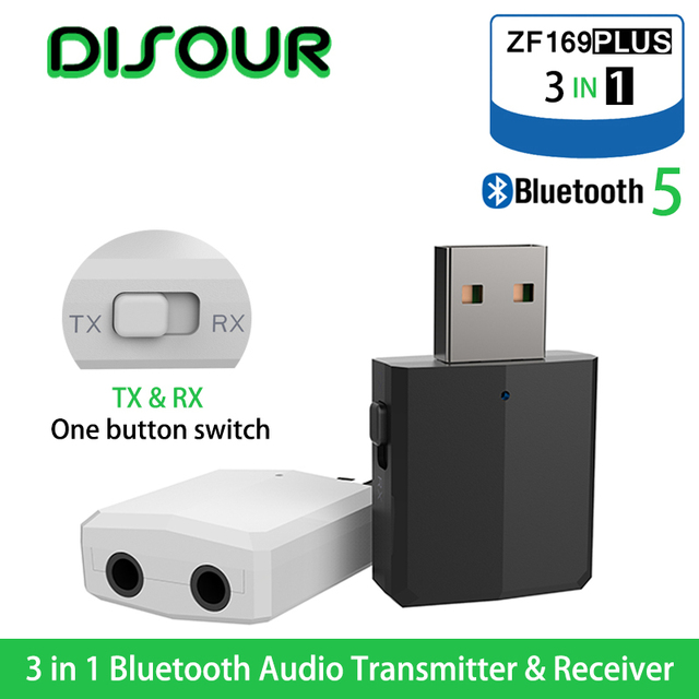DISOUR 5.0 USB Bluetooth Zender Ontvanger TV Mini 3 IN 1 3.5MM AUX HIFI Stereo Audio Draadloze Adapter Dongle voor Auto Kit PC