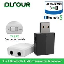 Disour receptor transmissor 5.0 usb, transmissor e receptor para tv mini 3 em 1, 3.5mm, auxiliar de alta fidelidade, áudio estéreo, adaptador sem fio dongle kit de carro pc