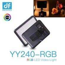 Vídeo yy240 2500 8500 k escurecimento rgb led painel contínuo luz de fundo para câmera filmadora cor completa com 10 iluminação