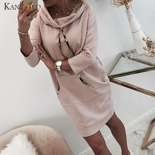 KANCOOLD dress Women Long Sleeve Solid Jumper Pullover Sweatshirt Hoodie Hooded Dress Straight fashion new dress women 2019Nov28(China)