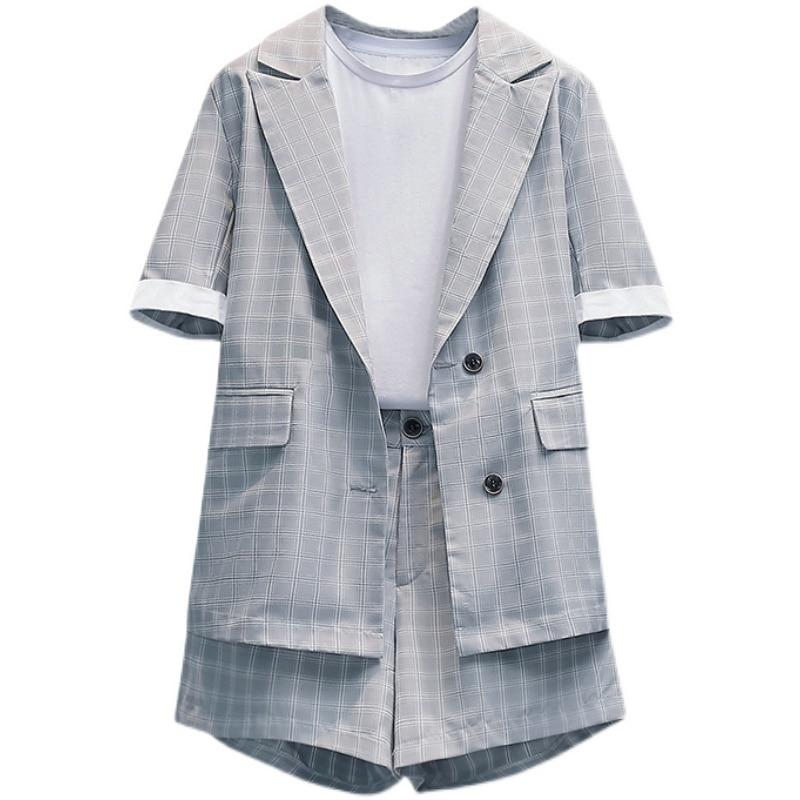 L-4XL fashion suit 2021 summer new temperament suit suit age reduction suit shorts two-piece plus size women's clothing