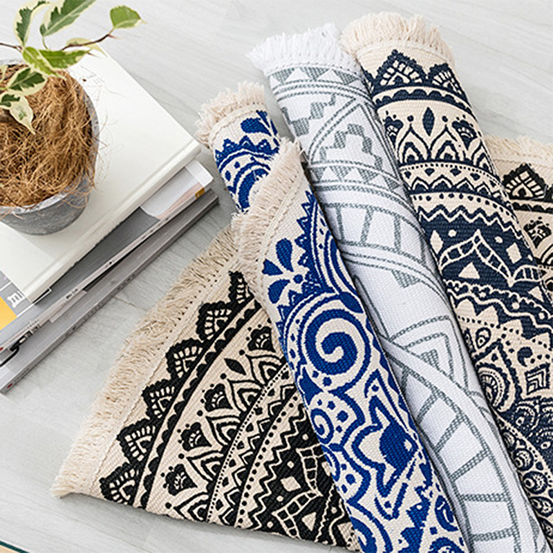 Купить ретро богемный ручной хлопковый льняной ковер этнический стиль