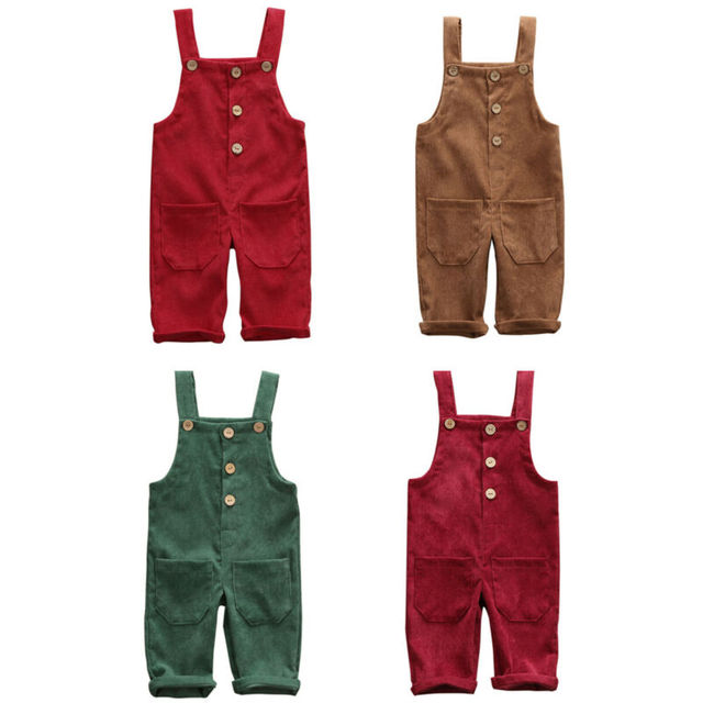 Toddler Kids Baby Boy Girl Corduroy Jumpsuit Solid Color Sleeveless Romper Bib Pants Button Playsuit with Pockets 6M-5T