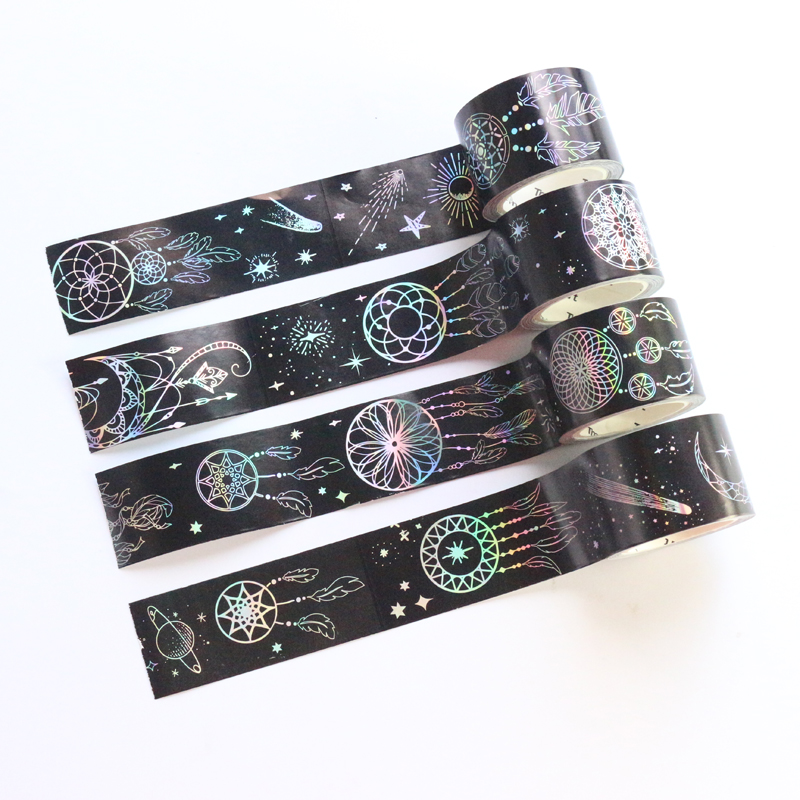 Domikee Cute Creative Japanese Laser Bullet Journal Diary Decoration DIY Washi Tapes Dreamcatcher Pattern Masking Tapes 3cm*5m