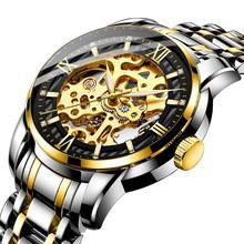 HAIQIN جديد للرجال ساعات أوتوماتيكية ساعة ميكانيكية موضة الصلب الكامل الأعمال مقاوم للماء ساعة رياضية الرجال relogio masculino