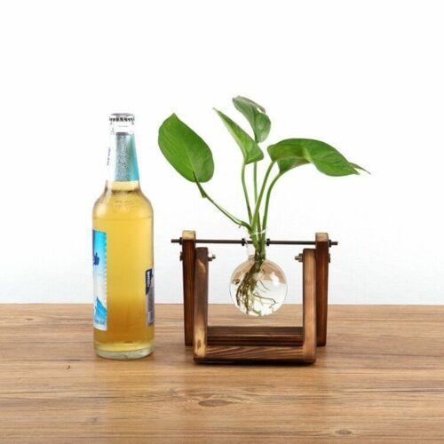 Creative terrarium hydroponic plant transparent vase wooden frame vase decoratio glass Table plant Bonsai decoration vase - Цвет: A