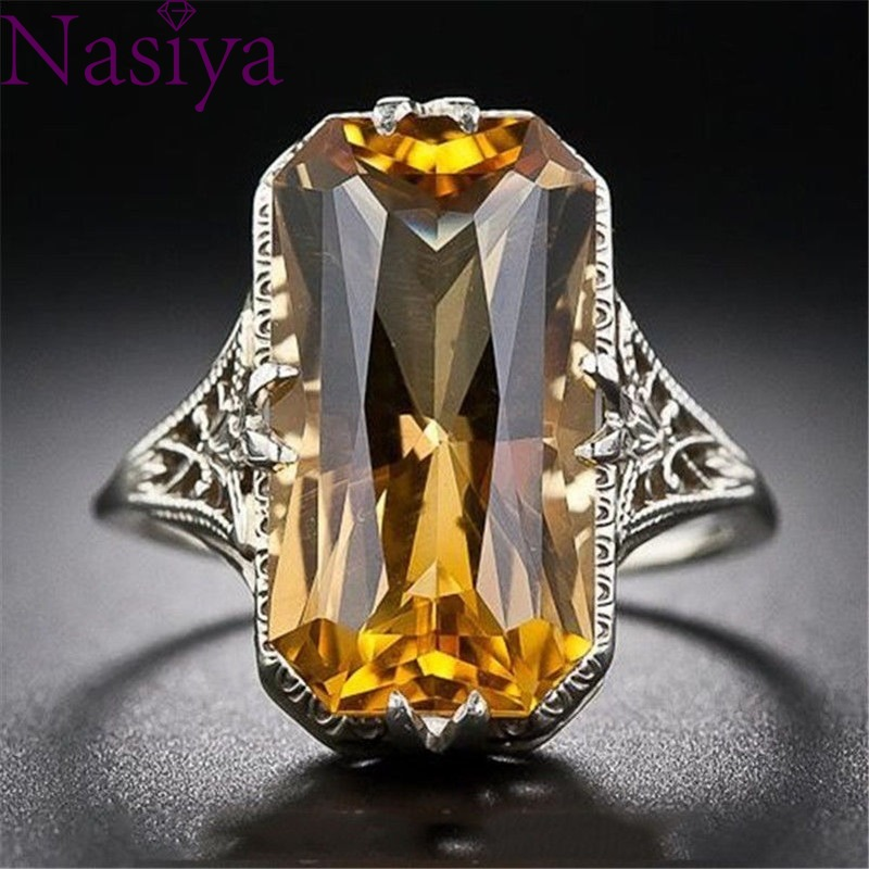 Citrine Hollowed-out Carved 925 Silver Rings Exaggerated Silver Hand Jewelry For Women Gemstone Ring