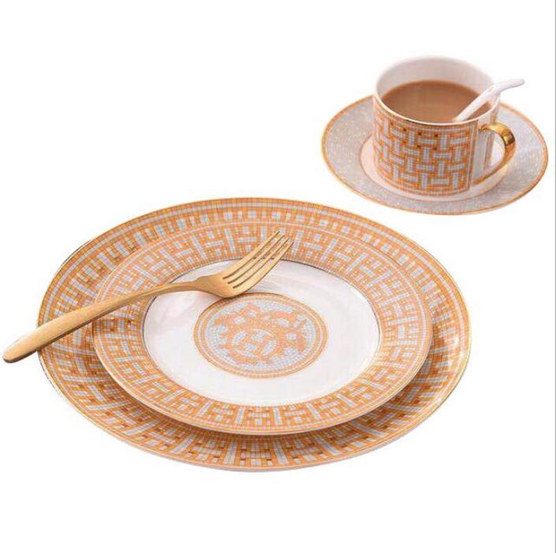 Assiette steak en porcelaine couple | Céramique fraîche européenne moderne couple occidental décoration de la vaisselle, ensemble tasse et soucoupe