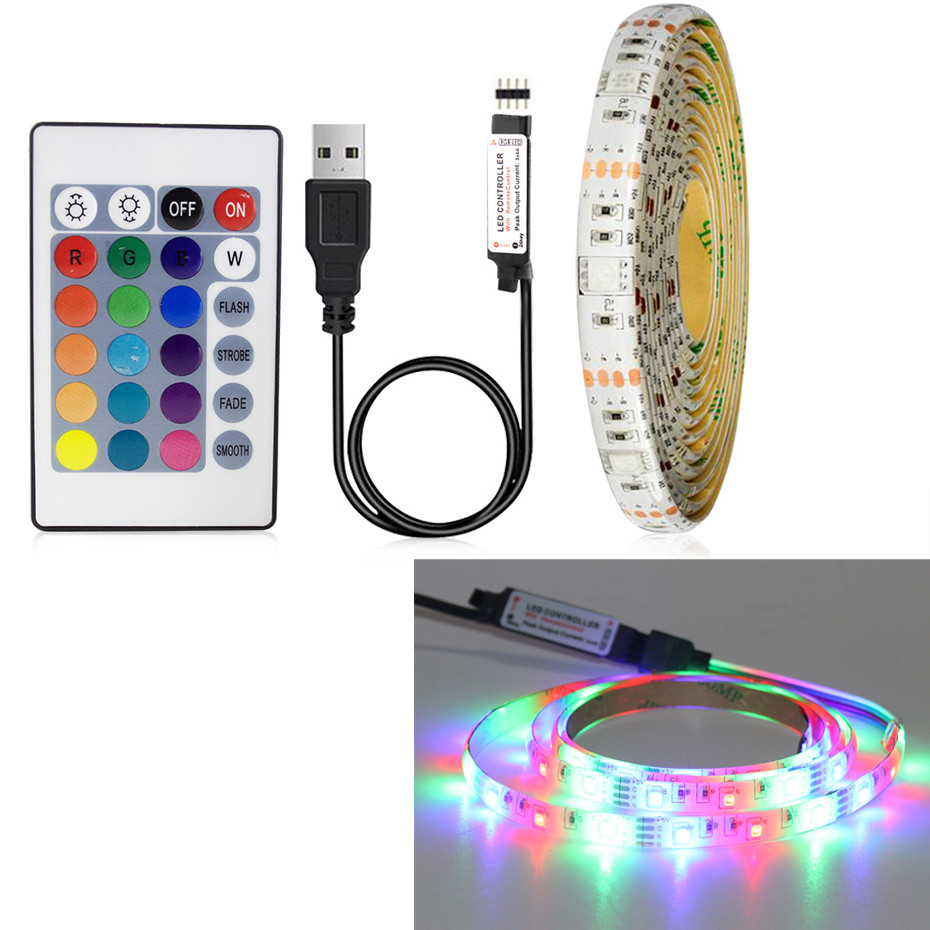 5V USB LED Strip Lamp 2835SMD Desktop Screen Backlight Bias Lighting Flexible LED Light Tape Ribbon 1M 2M 3M 4M 5M HDTV TV  A1