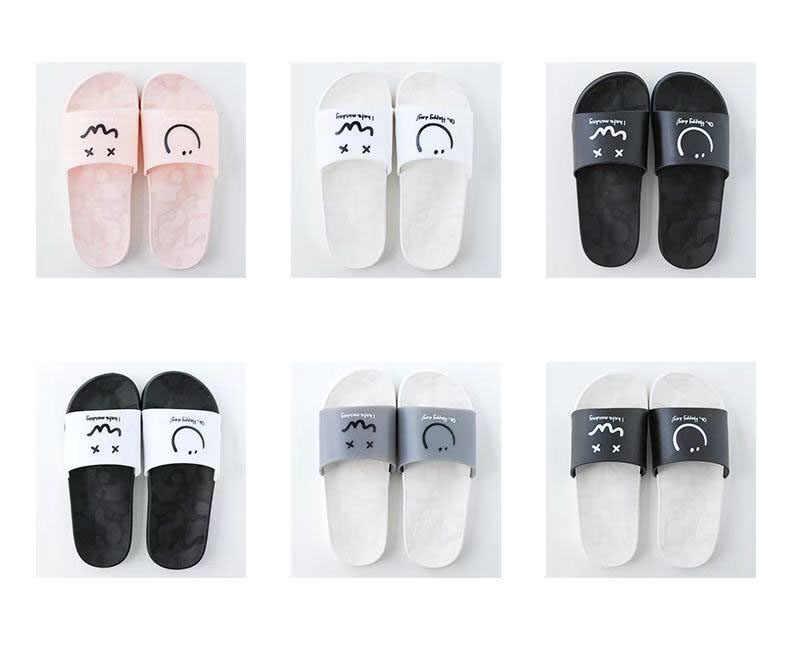 المرأة ابتسامة الموضة النعال المنزل الراحة داخلي الشرائح الأزواج شقة الوجه يتخبط أحذية حمام الإناث خفيفة الوزن