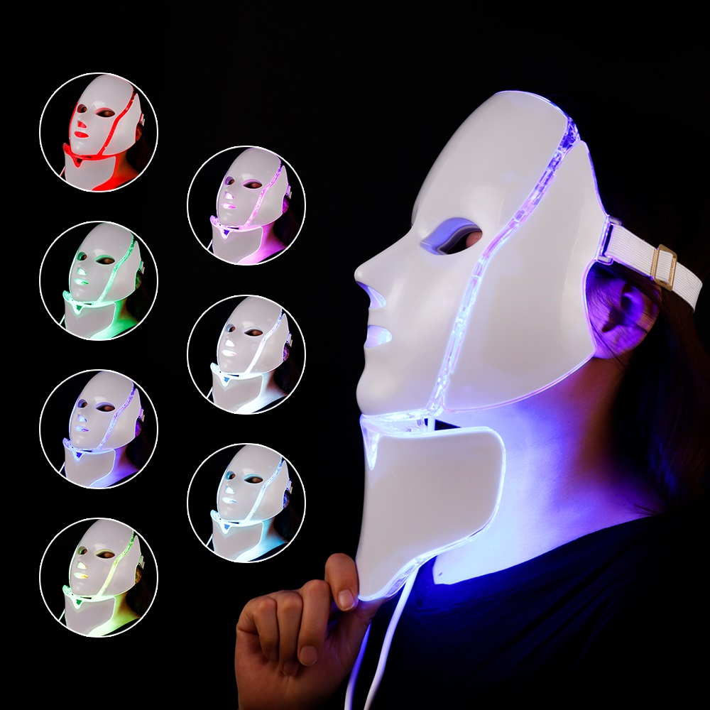 NEWEST 3/7 Colors Electric LED Facial Mask With Neck Skin Rejuvenation Anti Acne Wrinkle Beauty Treatment Salon Home Use