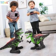Robô elétrico dinossauro brinquedos com controle remoto grandes dinossauros som luz brinquedo andando animais t rex brinquedos para crianças meninos