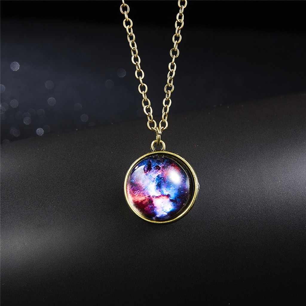 Mgławica Galaxy dwustronny wisiorek naszyjnik wszechświat planeta planeta biżuteria szkło Art Picture Handmade oświadczenie naszyjnik 2019