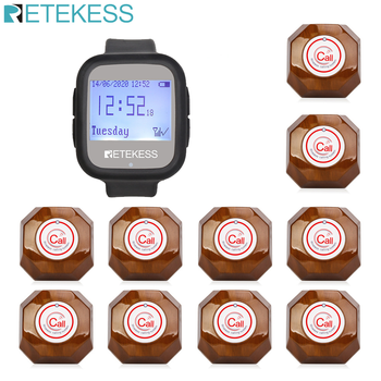 Retekess Wireless Calling System Watch Receiver+10 Call Buttons Pager Restaurant Equipment For Fast Food Cafe factory Pager