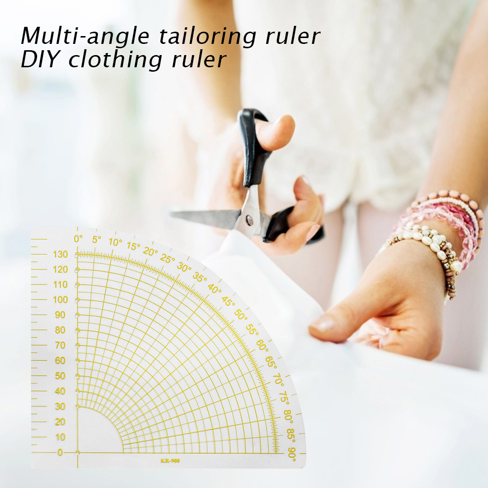 Template Craft Tool Sewing Accessory DIY Patchwork Fan Ruler Transparent Yellow Quilting Sewing Tailor Circle Cutter