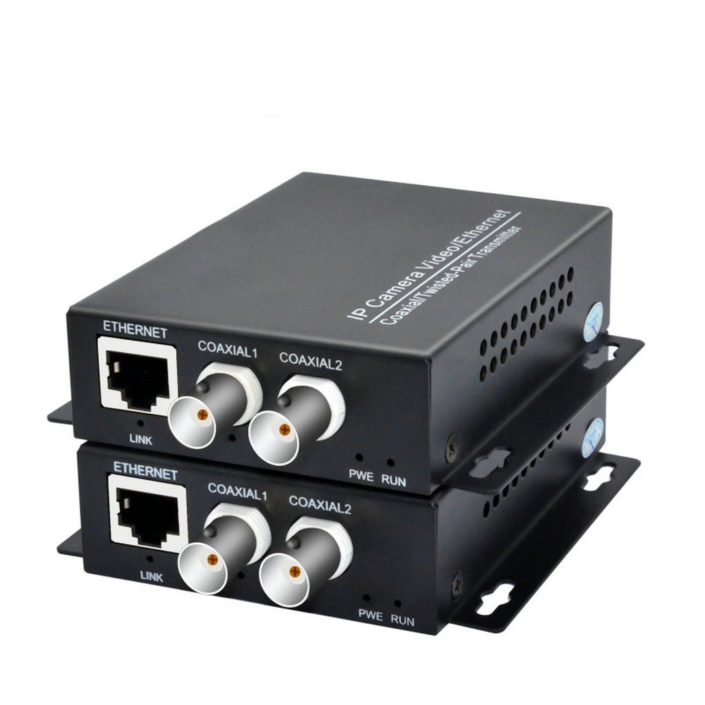 One Pair 2 Channel Ethernet IP Extender Over Coax  EoC Coaxial Cable HD Network Transmission Extender For Security CCTV Cameras