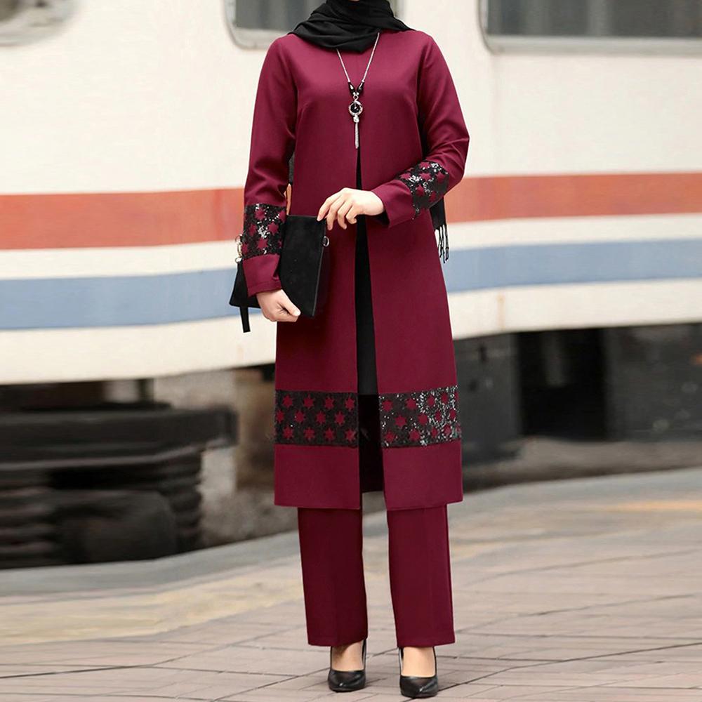 Ramadan Eid Mubarak Kaftan Dubai Abaya Turkey Hijab Muslim Dress Sets Islam Clothing For Women Ensembles Musulman Robe Femme Ete