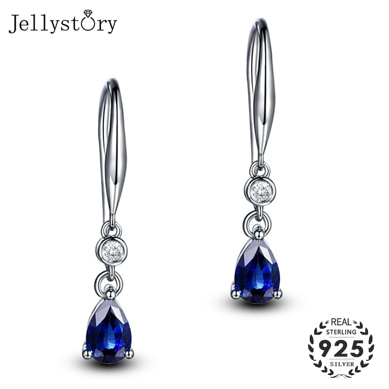 Jellystory Trendy Silver 925 Jewelry Earring With Water Drop Shaped Sapphire Gemstones Earrings For Women Weddings Party Gifts