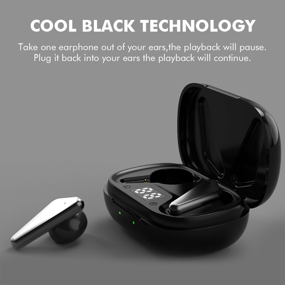 S15 Bluetooth 5.0 Wireless Headphones Earphones TWS Hifi Headset Bass Earbud with Power Display Touch Control Ear Detection 6
