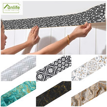 Funlife® Wall Border Copper Metallic Plant Marble Oil-Proof Waterproof Removable Home Decorative Tile Stickers Kitchen Bathroom