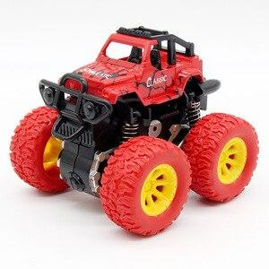 Image 2 - الأزرق طفل الجمود سيارة لعب صغيرة شاحنة الأطفال التراجع لعب المركبات الاحتكاك بالطاقة نموذج عجلات كبيرة