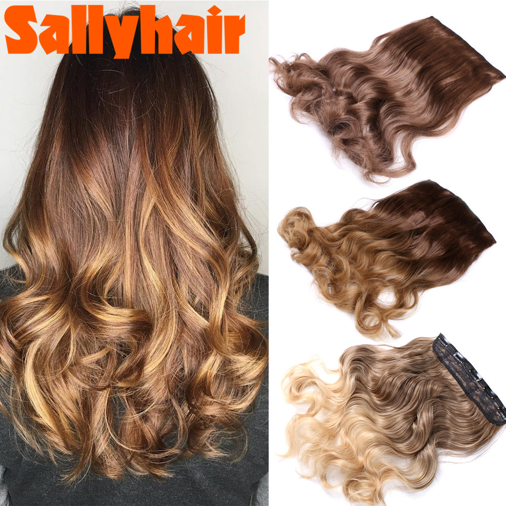 SallyHair 22Inch 5 Clip Long curly Women Clip in Hair Extensions Black Brown High Tempreture Synthetic Hair Piece