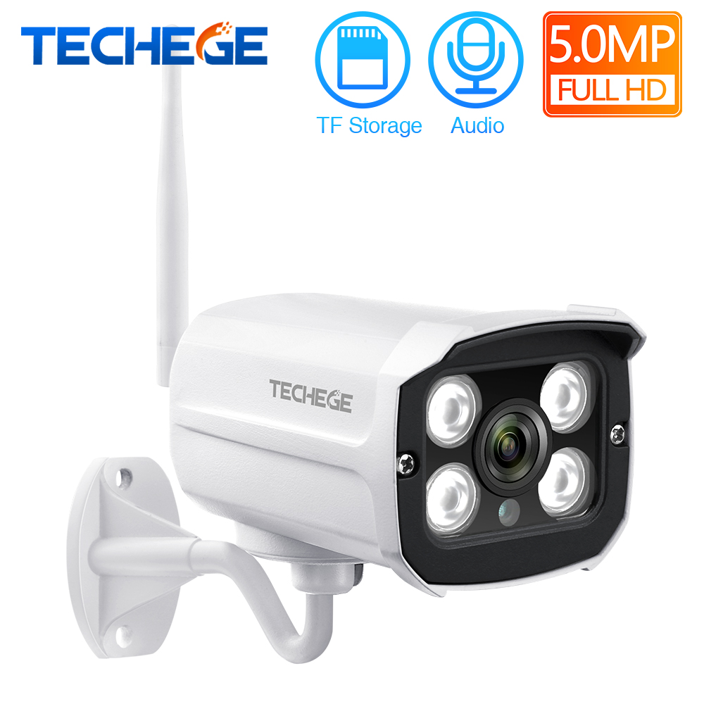 Techege Super HD 5MP IP Camera Wifi CCTV Audio Email Alert Outdoor Wireless Surveillance Onvif Video Security Camera TF Card image