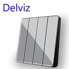 Delviz Grey Crystal glass panel, UK Standard 16A Switch, AC 110V-250V,Universal 86 button switch, 4 Gang 2 Way Wall Light Switch
